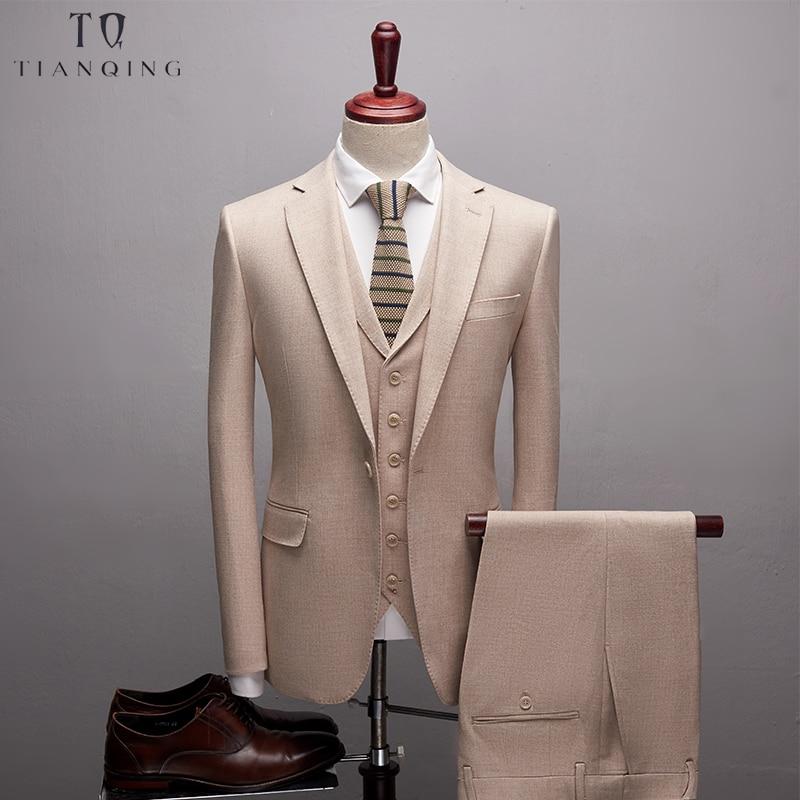 TianQiong Good Quality Soft  Wool Men Suits Slim Fit Wool Blazer  Luxury Groom Suit Fashion Gentalmen Style (Jacket+Vest+Pants)
