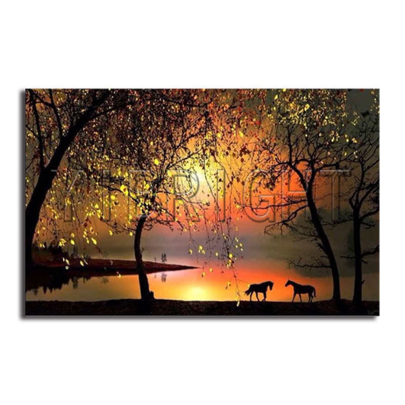 5D DIY Diamond Painting Golden Tree Full Square Diamond Embroidery Horses Cross Stitch Rhinestone Mosaic Sunset Landscape