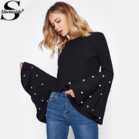 Sheinside Pearl Beading Exaggerate Flare Sleeve Vintage Ribbed Tee Fall Black Boat Neck Long Sleeve Elegant