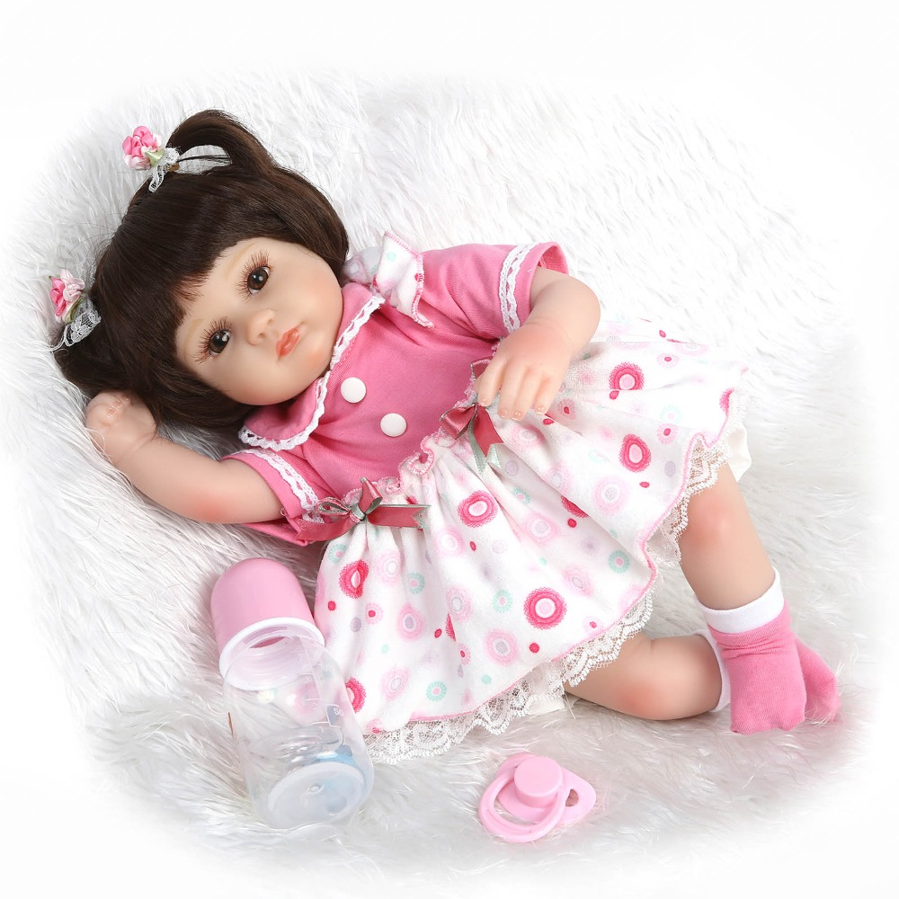 17inch 40cm reborn todder baby doll silicone vinyl soft real touch glued wig Birthday presents to baby girls