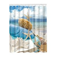 New Ocean Decor Collection Starfish Seascape Sea Beach Picture Print Bathroom Set Fabric Shower Curtain With