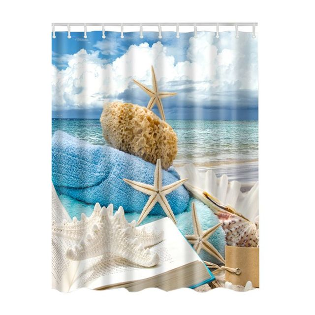 Fashion Curtain With Hooks Ocean Collection Fish Seascape Sea Beach Picture Print Bathroom Set Fabric Shower