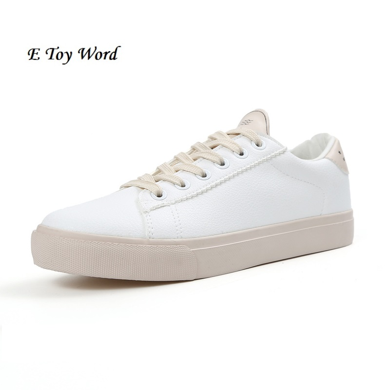 Soft Leather Lace-up Casual Shoes Students Breathable White Shoes Slipony 2017 Spring Su ...