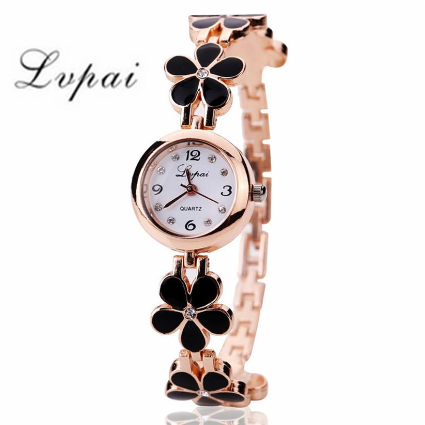 Women Watch Luxury Brand Stainless Steel Relogio Feminino Rhinestone Flower Alloy Band Ladies Female Bracelet Watches Montre
