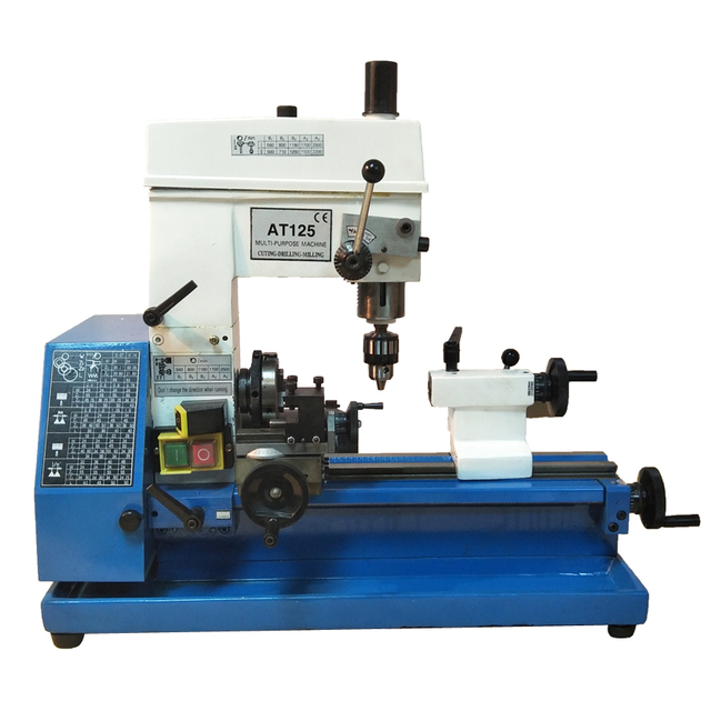 US $874 0 8% OFF AT 125Versatile Small Metal Lathe Machine,Machining Inch  thread pitch 16 48 1/n Household Drilling milling machine 560 2500r/min-in