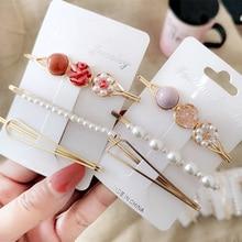 3pcs Fashion Rhinestone pearl set hair clip for women girl Korean hairpins barrette metal acrylic accessories gift Z31