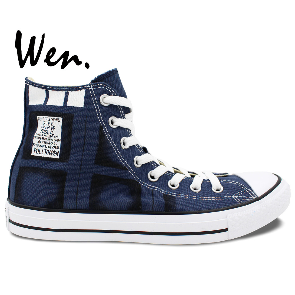 Wen Hand Painted Shoes Design Custom Doctor Who BAD WOLF High Top Blue Canvas Sneakers for Christmas Gifts wen original hand painted canvas shoes space galaxy tardis doctor who man woman s high top canvas sneakers girls boys gifts