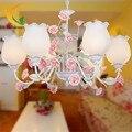 Coreano princesa lâmpada quarto ferro forjado lâmpada led estilo pastoral Americano lustre de sala de estar Das Crianças
