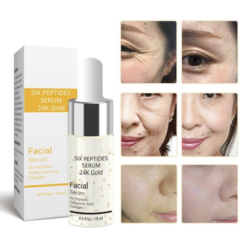 15ml Liquid Vitamin C Serum/Six Peptides Serum 24K Gold/Hyaluronic Acid Serum Anti-Aging Moisturizing Facial Whitening Brighten