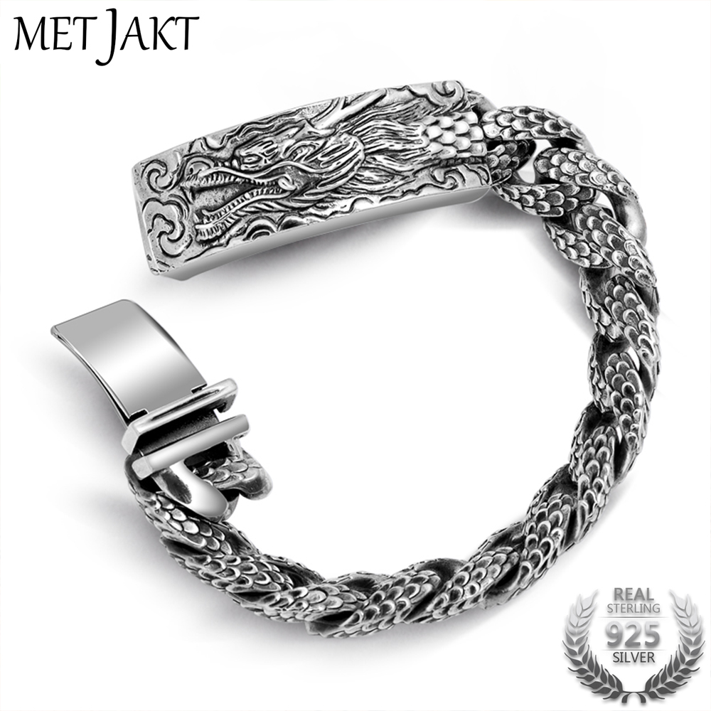 MetJakt Mens Punk Dragonscale Bracelets Solid 925 Sterling Silver Dragon Bracelet for Mens Vintage Thai Silver Jewelry 21cmMetJakt Mens Punk Dragonscale Bracelets Solid 925 Sterling Silver Dragon Bracelet for Mens Vintage Thai Silver Jewelry 21cm