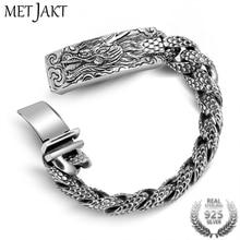 4028771b35ed MetJakt hombres Punk Dragonscale pulseras sólido 925 dragón pulsera hombres  de joyería de plata tailandés de la vendimia 21 cm