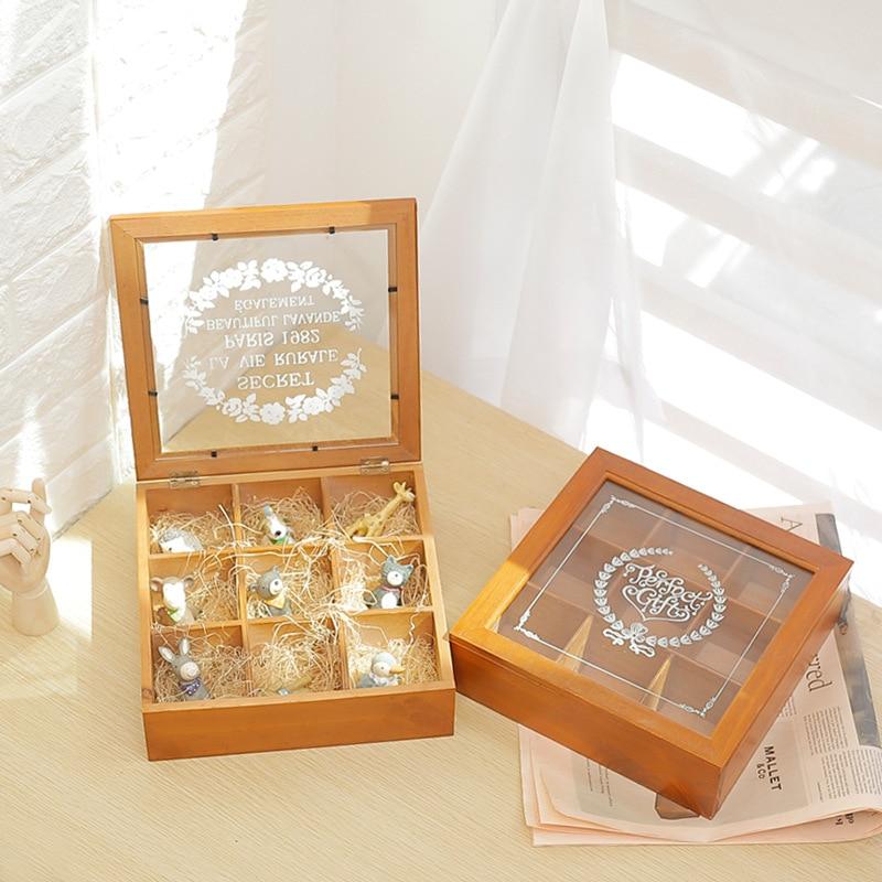 Household Decor Storage Box Handmade Wooden Jewelry Storage Box Organizer Creative Present Divide Cells Storage Boxes