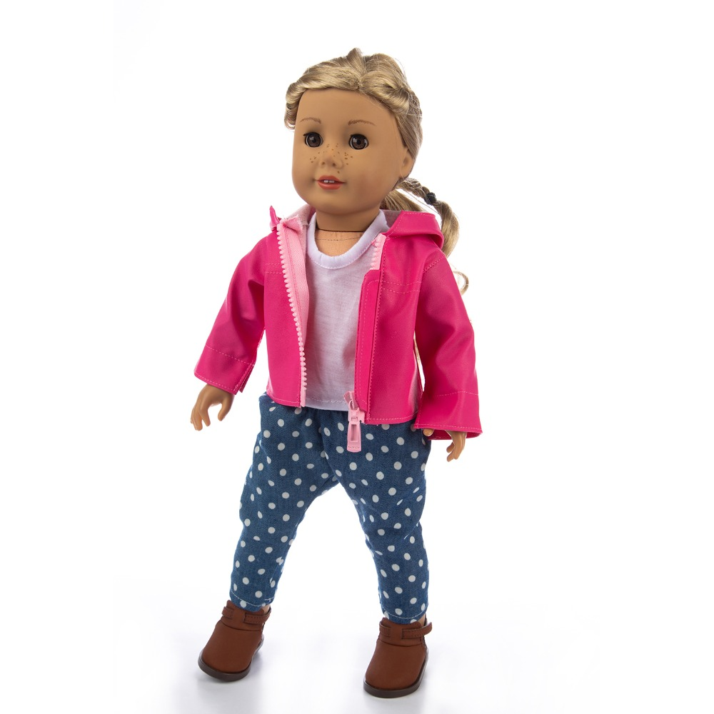3Pcs=Leather Jacket+Vest+Pants Clothes For American Girl 18inch Doll Clothes For Children Best Gift