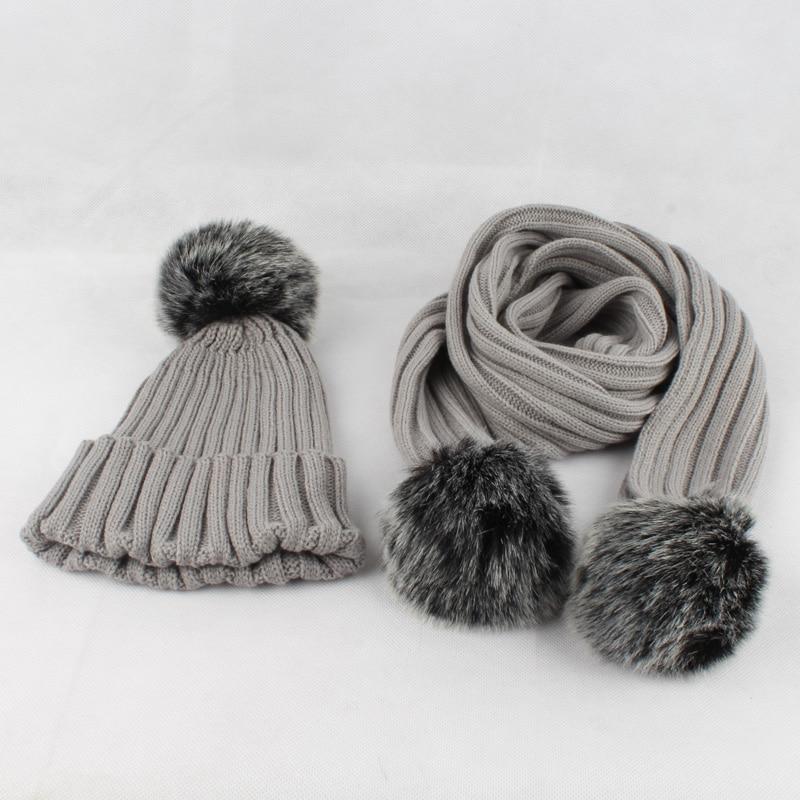 2017 zimske tople žene faux krzneni šal šal set dva krzna pompom - Pribor za odjeću - Foto 2
