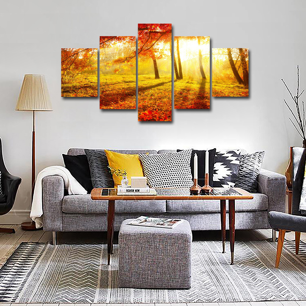 Unframed 5 panel HD Canvas Wall Art Giclee Painting Sunset Over The Maple Landscape For Living Room Home Decor Unframed