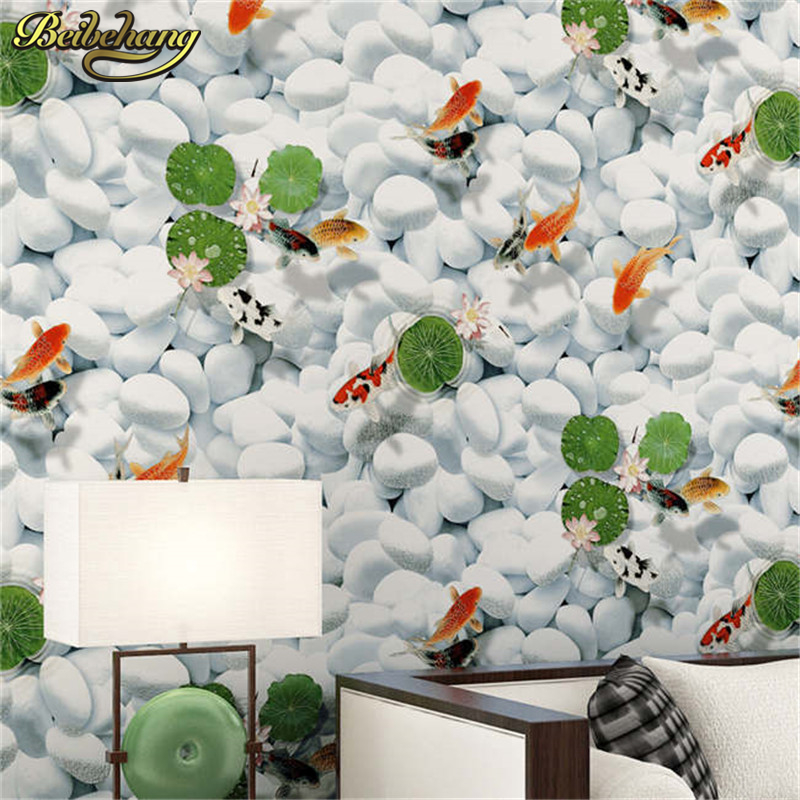 beibehang Lotus goldfish bedroom wallpaper for living room sofa TV background papel de parede 3d flooring wall papers home decor beibehang damask wallpaper for walls 3 d wall paper for living room bedroom tv sofa background papel de parede 3d flooring roll
