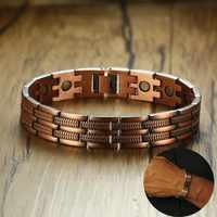 """Mens Elegant Pure Copper Magnetic Therapy Link Bracelet Pain Relief For Arthritis And Carpal Tunnel Male Jewelry 8.46"""""""