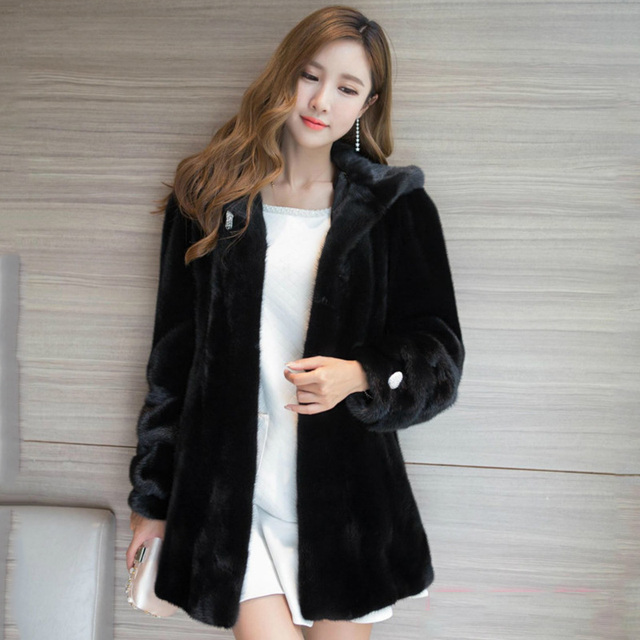 2017 Best selling fashion mink coats Genuine Leather Turn down ...