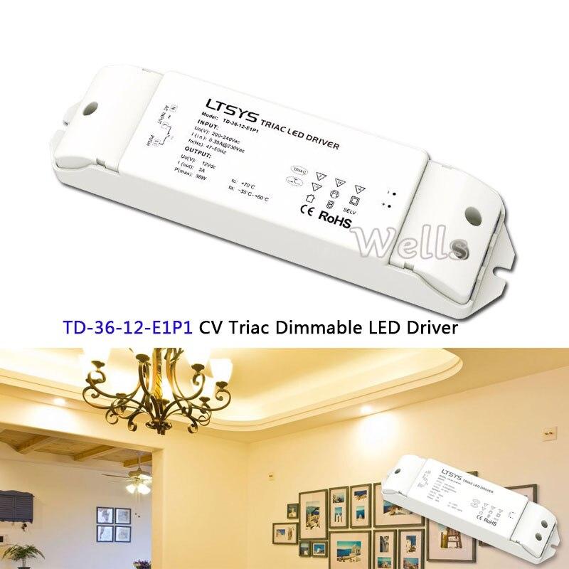 TD-36-12-E1P1; 200-240VAC input,Output 36W 3A 12VDC constant voltage Triac Dimmable intelligent LED Driver Triac Push Dim kvp 24200 td 24v 200w triac dimmable constant voltage led driver ac90 130v ac170 265v input