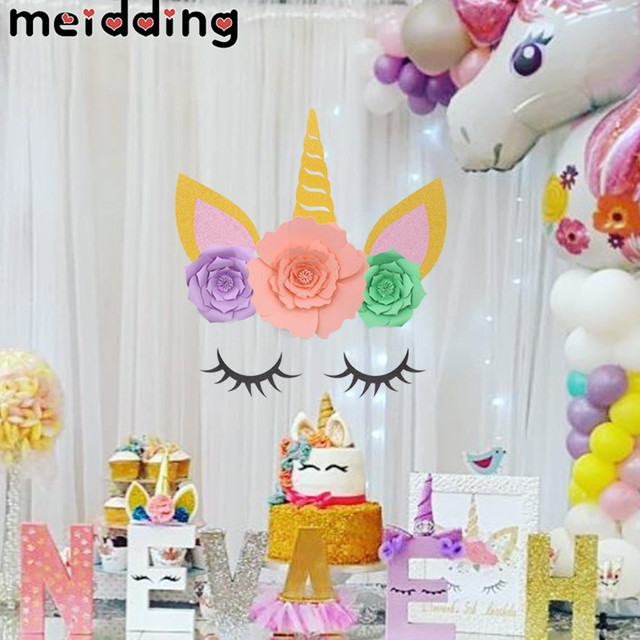 MEIDDING Unicorn Party Horn Eyelashes Ear Kids Birthday Backdrop Decoration 1st Baby Shower Supplies