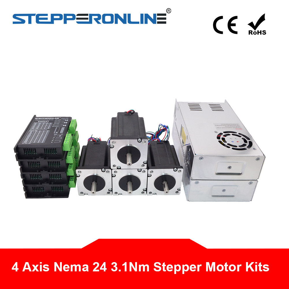 4 Axis CNC Router Kit 3 1Nm 439oz in Nema 24 Stepper Motor Driver