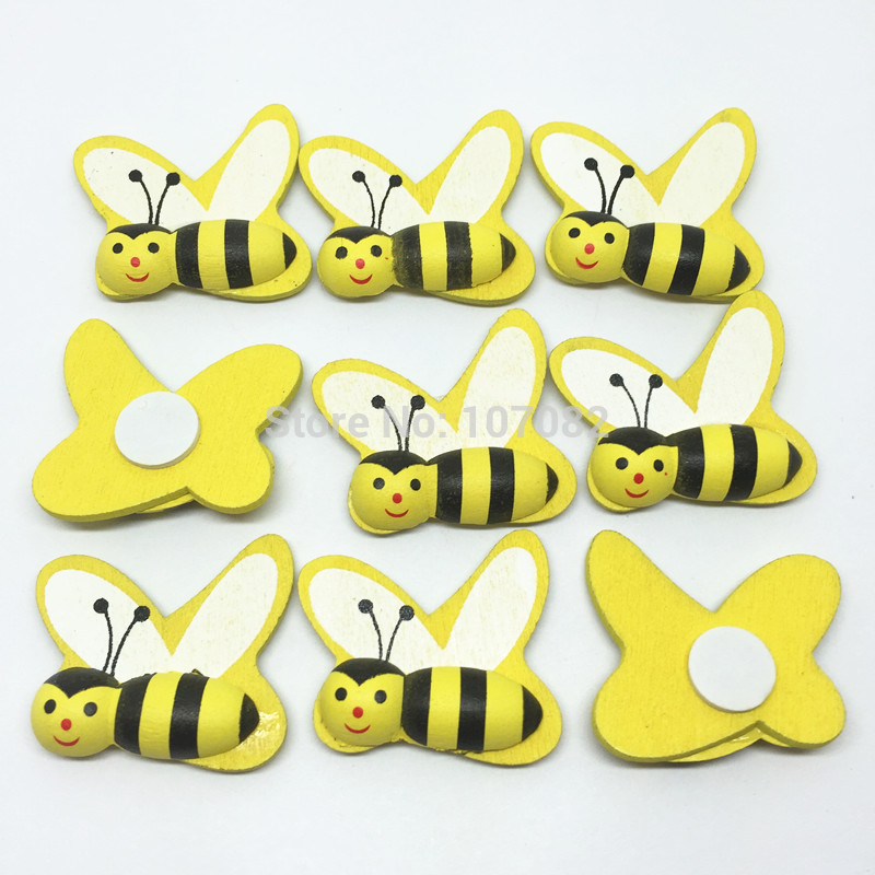20pcs 25x28mm Yellow Wood Bee Sticker Flatbacks Honey Bees Easter diy Crafts Embellishents Self-adhesive Scrapbooking