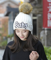 De nieuwe versie van de Koreaanse winter gebreide hoed, grote haarbal warme kasjmier dame trui cap fabriek direct sales