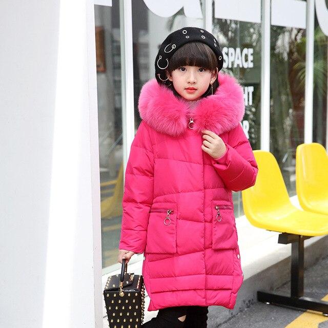 2017 пуховик для девочек для девочки пальто большой меховой с капюшоном и воротником Длинные Верхняя одежда для детей парки Пальто-20--30 градусов