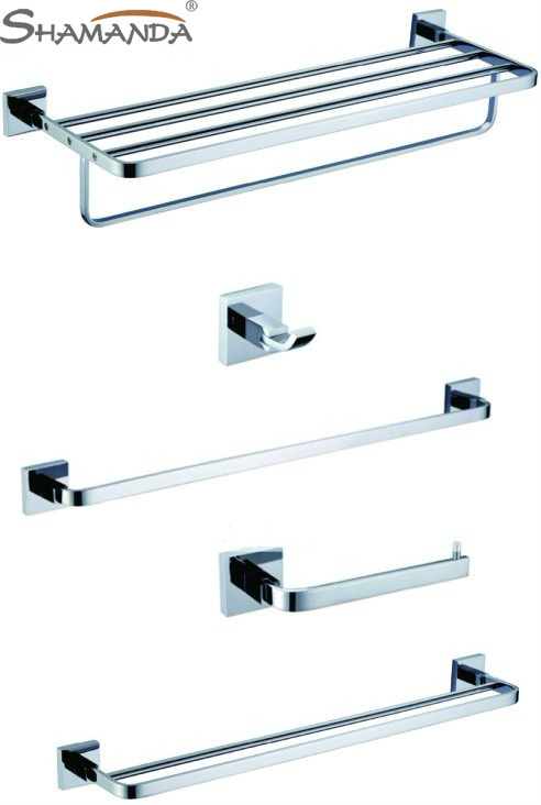 Free shipping Brass chrome Bathroom Accessories Set,Robe hook,Paper Holder,Single Towel Bar,Double towel bar,towel rack 5pcs/set free shipping bathroom products solid brass chrome single towel bar chrome towel holder towel rack bathroom accessories cs008d 2