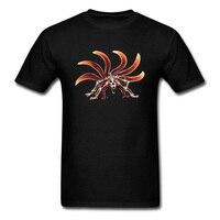 Naruto 6 Tails Fox Unique Skeleton Monster Print Men Black Tee Shirts 100 Cotton Short Sleeve