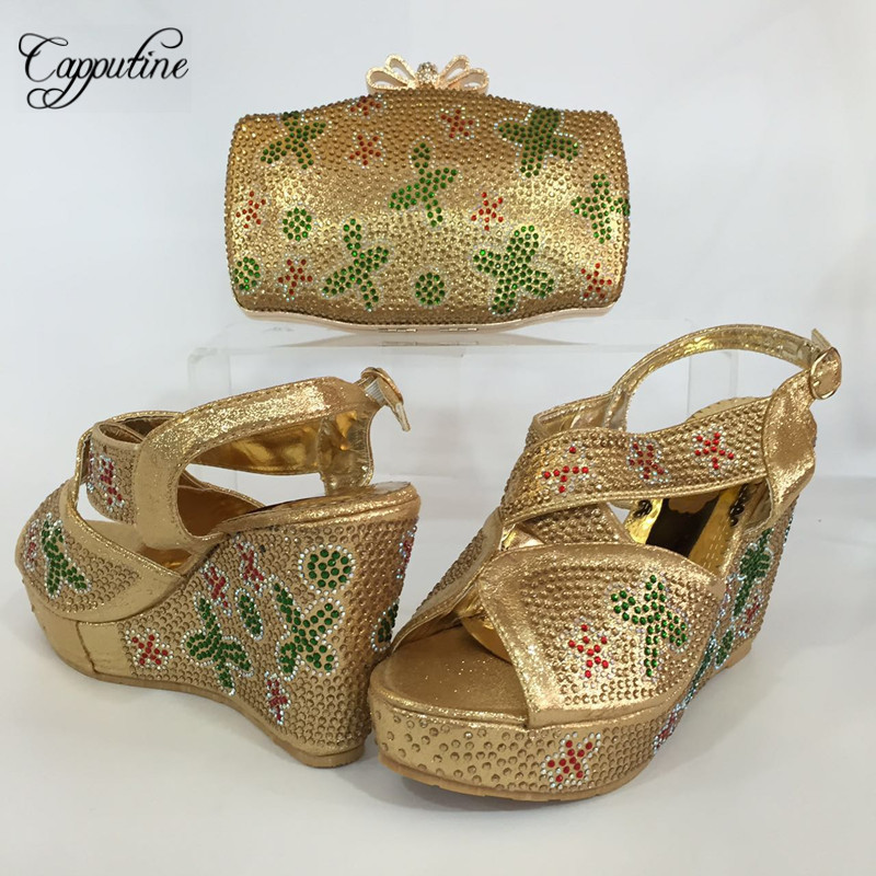 Capputine New Italian Matching Shoes And Bag Set African Wedges Heels Shoes And Bag Sets For Wedding Dress Cheap Price BL655C capputine italian fashion design woman shoes and bag set european rhinestone high heels shoes and bag set for wedding dress g40