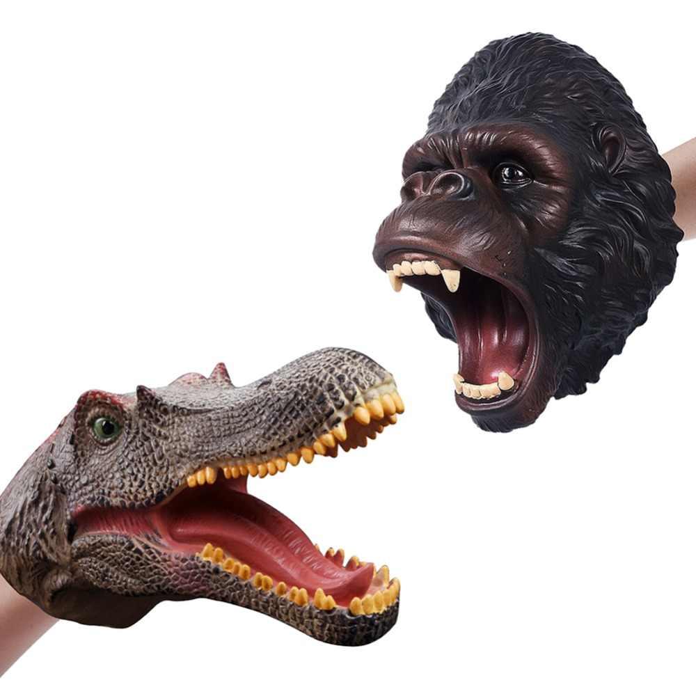 Animais fantoches mão dinossauro t-rex luvas macio vinil borracha animal gorila cão vaca cabeça móvel ação dedo modelo brinquedos presente
