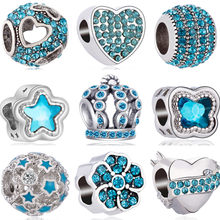 Sky Blue Color Crystal Owl Leaf Crown Hearts Flowers DIY Beads Fit Pandora Charms Bracelets & Bangles for Women Summer Trinket(China)