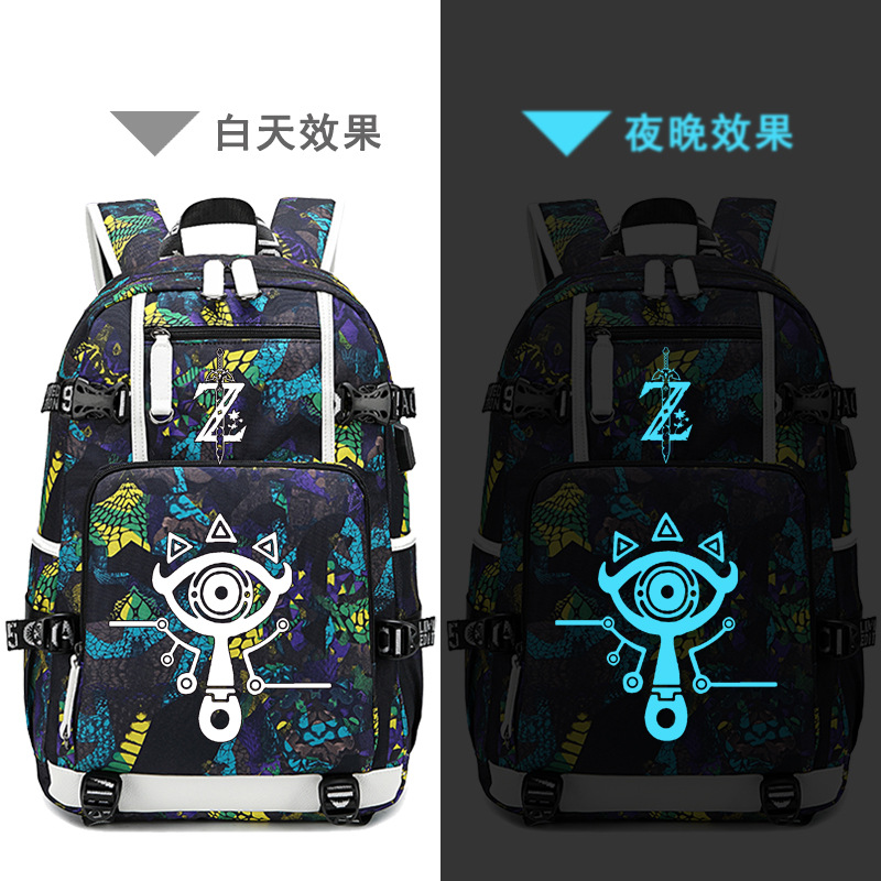 The Legend Of Zelda:Breath Of The Wild Game Printing Zelda Backpack Canvas School Bags USB Charging Laptop Backpack Travel Bags