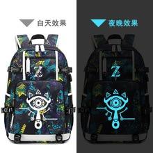 The Legend of Zelda:Breath of the Wild Game Printing Zelda Backpack Canvas School Bags USB Charging Laptop Backpack Travel Bags