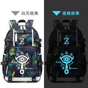 Image 1 - The Legend of Zelda:Breath of the Wild Game Printing Zelda Backpack Canvas School Bags USB Charging Laptop Backpack Travel Bags