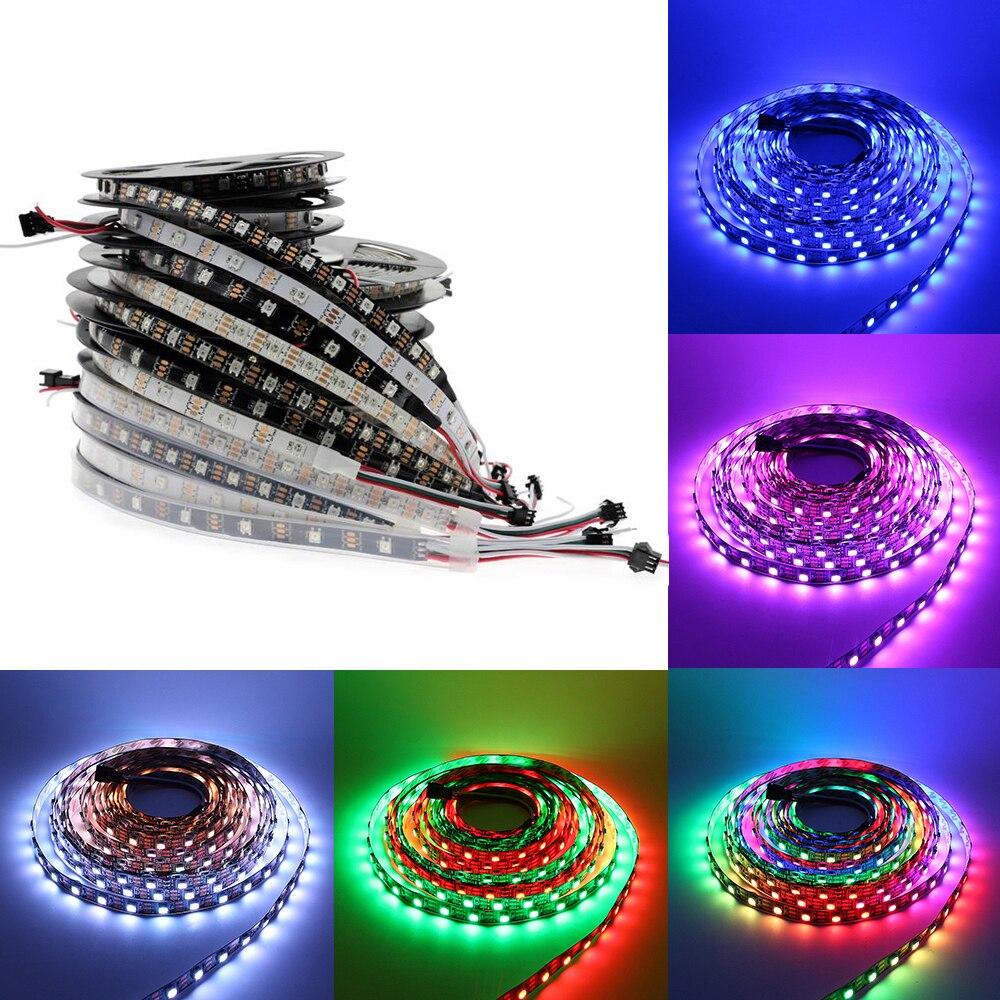 RGB Tira Conduzida ws2811 ws2812 À Prova D' Água 5 m 5 12 V 5050 led light strip 5 v 12 v 30 /60/144 led/m ws2812b Sonho Cor led Fita Tarja