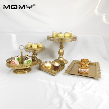 5 Pcs Dessert Hanging Fruit Cup 1 Tier Plate Crystal Afternoon Tea Gold White Pink Metal Wedding Cake Stand