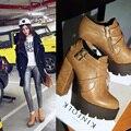 2016 Nova Primavera Outono Bombas Plataforma Dedo Do Pé Redondo Lacing sapatos Femininos Sapatos Casuais Senhora Do Escritório Sapatos de Salto Quadrado de Espessura De Alta