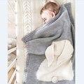 Conejo de Punto Manta Pañales del bebé 2016 Nuevo Otoño Mantas de Bebé Lindo Gris Sofá Cama Cobertores Colcha Mantas Toallas de Baño de Regalo