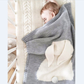 Rabbit Knitted Swaddling Blanket 2016 New Autumn Baby Blankets Cute Gray Bed Sofa Cobertores Mantas BedSpread Bath Towels Gift