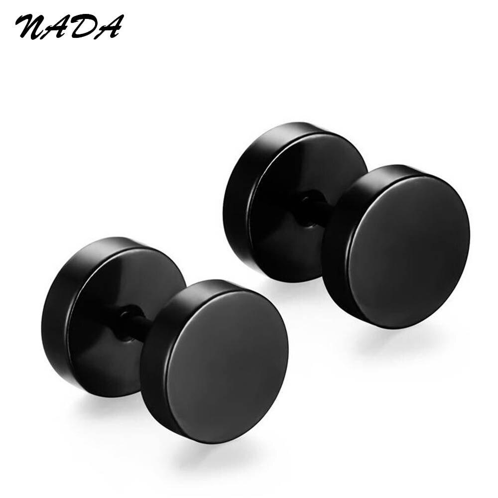 316L Stainless Steel Earrings Double Sided Round Bolt Stud Earrings For Men Women Punk Gothic Barbell Black Earrings E17002