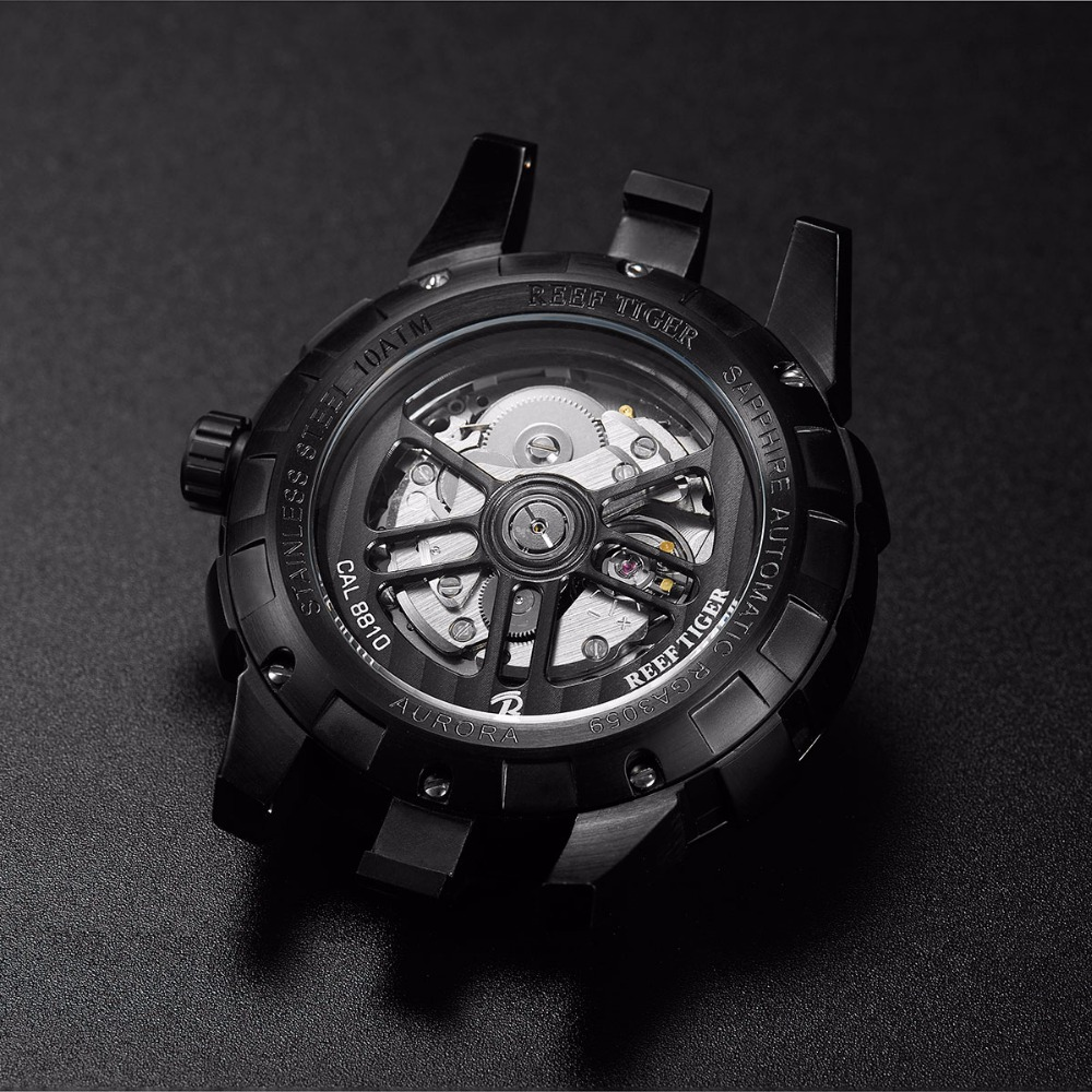 New Reef Tiger / RT Męskie sportowe automatyczne zegarki Black Steel - Męskie zegarki - Zdjęcie 6