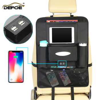 Nuovo Stile USB seggiolino auto sacchetto di immagazzinaggio scatola di immagazzinaggio Multifunzionale auto sedile posteriore del sacchetto creativo accessori auto box auto di tessuto box