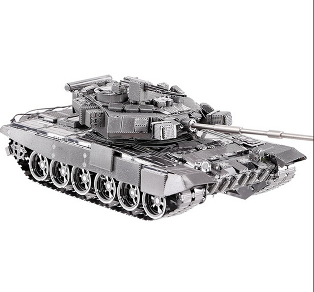 Frete Grátis Metal Works DIY Laser 3D Modelos De Metal Montar Modelo em miniatura de Metal 3D Metallic Nano tanque T-90A MBT modelo Puzzlev
