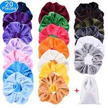 Women Headband Velvet Hair Scrunchies 20 Pack Hair Velvet Elastics Hair Ties Bright Colorful Bobbles Bands 20 Colors