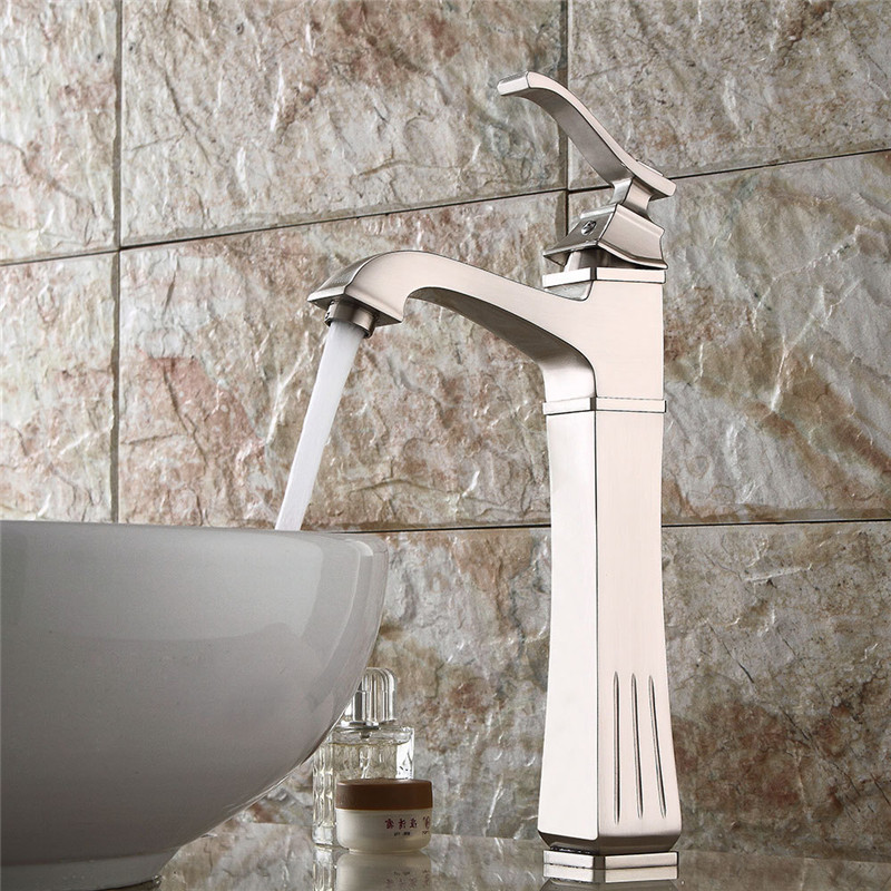 Basin Faucets nickel brushed Sink Mixer Tap Fashion Style Single Lever Single Hole Deck Mounted  Crane Bathroom tapBasin Faucets nickel brushed Sink Mixer Tap Fashion Style Single Lever Single Hole Deck Mounted  Crane Bathroom tap