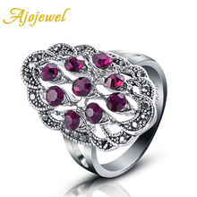 Size 7-9 New Arrival Jewelry Vintage 18K White Gold Plated Red/Black Stone Ring