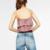 Buenos Ninos sólido de veludo cor de rosa camis ruffles herm preto curto sexy tops feminino pullovers 40