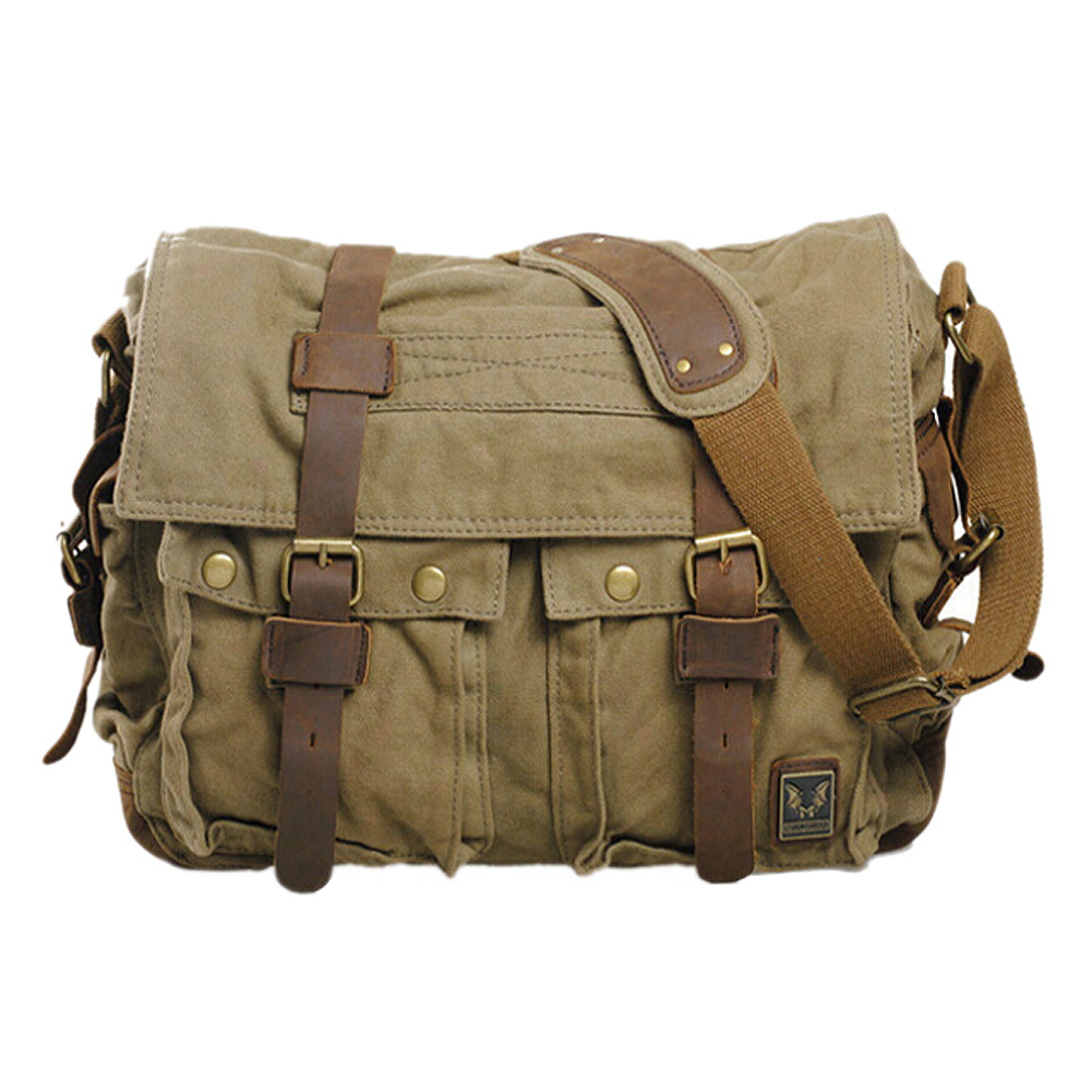 ABDB Men's Vintage Canvas Leather School Military Shoulder Bag Messenger Sling Crossbody Bag Satchel